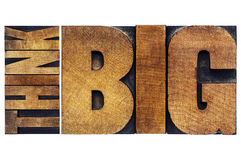 Think big word abstract in old grunge wood type Royalty Free Stock Photography