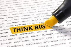 Think big word highlighted with marker on paper related word royalty free stock image