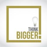 Think bigger idea bulb text box concept Stock Photo