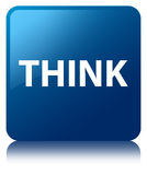 Think blue square button Royalty Free Stock Photos