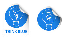 Think blue stickers Royalty Free Stock Photography