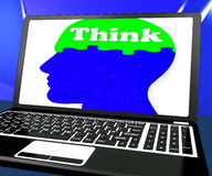 Think On Brain On Laptop Shows Solving Problems Online Stock Images