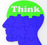 Think Brain Profile Shows Concept Of Ideas Royalty Free Stock Image