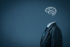 Think about business. And headhunter concept. Businessman without head just with brain contemplate stock images