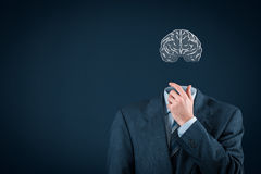 Think about business. And headhunter concept. Businessman without head just with brain contemplate stock photo
