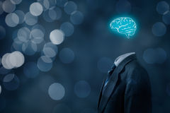 Think about business. Leader think about business, creativity, business vision and headhunter concept. Businessman without head just with brain, bokeh in stock photography