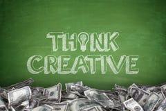 Think creative on blackboard Stock Image