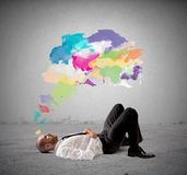 Think creative. Concept of Think creative with businessman thinking stock photo