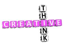 Think Creative Crossword. 3D Think Creative Crossword on white background Royalty Free Stock Image
