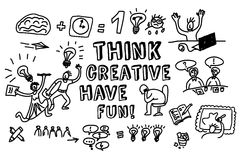 Think creative fun doodles people black and white Stock Photography