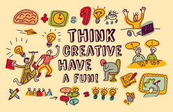 Think creative fun doodles people color Stock Photos