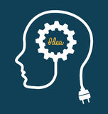 Think design. Over blue background vector illustration Royalty Free Stock Photography