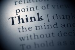 Think. Dictionary definition of the word think stock photography