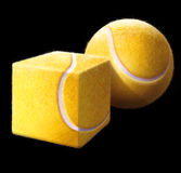 Think different. Tennis ball of different shapes Stock Photo