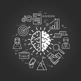 Think Different on black. Vector concept of Think Different Round Concept in Thin Line Art Style. Human brain and business icons - document, charts, computer and Stock Images