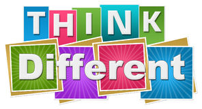 Think Different Colorful Squares Rays Stripes. Think different text written over colorful background Stock Image