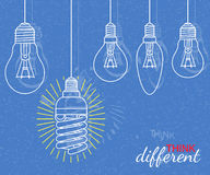Think different concept. Background with bulbs and grunge texture Royalty Free Stock Photos