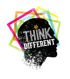Think Different. Creative Brush Vector Typography Sign Concept Stock Image