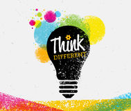 Think Different. Creative Brush Vector Typography Sign Concept Stock Photos