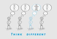 Think different, 2D vs 3D. Three people think in 2D and one thing different in 3D Stock Images