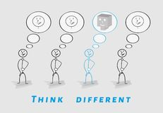 Think different, 2D vs 3D. Three people think in 2D and one thing different in 3D Stock Image
