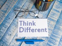 Think Different, Motivational Words Quotes Concept. Think Different, business motivational inspirational quotes, words typography top view lettering concept royalty free stock image