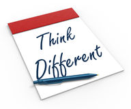 Think Different Notebook Shows Inspiration Stock Photo