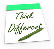 Think Different Notepad Means Original Thoughts. Think Different Notepad Meaning Original Thoughts Or Changing Opinion Stock Photos