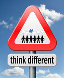 Think different. Outside the box individual thoughts individuality and own will non conformist Stock Photos