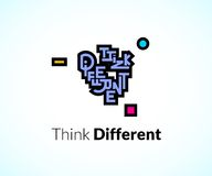 Think different phrase, graffiti logo sign, Stock Image