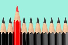 Think Differently Business Concept. Red Pencil Standing Out of Black Pencil Row. 3d Rendering. Think Differently Business Concept. Red Pencil Standing Out of royalty free stock image