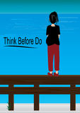 Think Before Do_eps. Pregnant female standing on fence Royalty Free Stock Photography