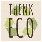 Think eco with recycle sign vector illustration. Creative banner about ecology and recycling with grunge elements Royalty Free Stock Image