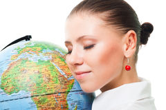 Think about ecology. Beautiful woman show love to earth holding globe and thing about ecology Stock Photos