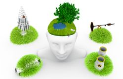Think ecology. Thinking ecology pollution. Breathe clean air. Dream of a better world Royalty Free Stock Photo