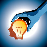 Think extra concept, bulb with human head Stock Photos