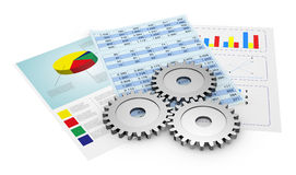 Think of a financial strategy. Financial documents showing spreadsheet and charts, and gears (3d render Stock Photography