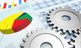 Think of a financial strategy. Financial documents showing spreadsheet and charts, and gears (3d render Royalty Free Stock Photo