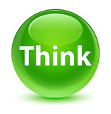 Think glassy green round button Stock Image