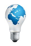 Think global. White bulb with world map on it Stock Images