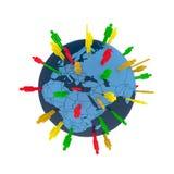 Think global. Colored man symbols placed random on world globe Stock Photos