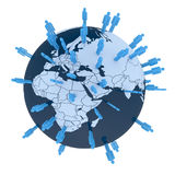 Think global. Colored man symbols placed random on world globe. Europe, Africa and Asia Royalty Free Stock Photos