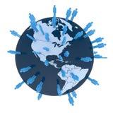 Think global. Colored man symbols placed random on world globe. Americas Royalty Free Stock Image