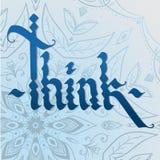 THINK gothic calligraphy on mandala background Royalty Free Stock Images