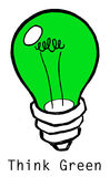 Think Green. Icon symbolizing Environmentally-friendly innovation Stock Photos