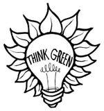 Think Green. Icon symbolizing Environmentally-friendly innovation Stock Images