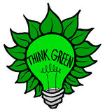 Think Green. Icon symbolizing Environmentally-friendly innovation Royalty Free Stock Images