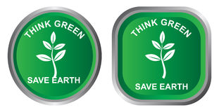 Think green. Illustration of eco friendly icon on white background Royalty Free Stock Photo