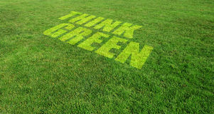 Think Green. Text on Grass Lawn
