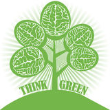 Think green. Abstract colorful illustration with tree made from brains. Think green concept Royalty Free Stock Photography
